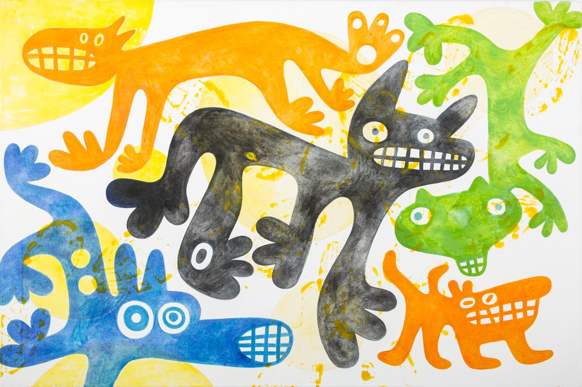 bunte Hunde, Acryl auf Leinwand, 70 x 105 cm, Frieda Funke 2014