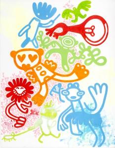 komm raus - spielen, Acryl auf Leinwand, 90 x 70 cm, Frieda Funke 2014