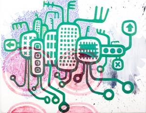 city, Acryl auf Leinwand, 70 x 90 cm, Frieda Funke 2013