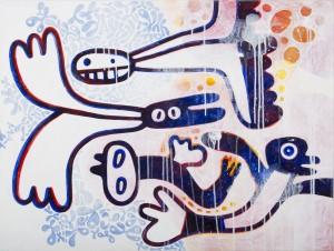 birds, Acryl auf Leinwand, 60 x 80 cm, Frieda Funke 2015