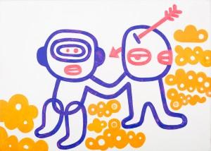 wir zwei beidn, Acryl auf Leinwand, 50 x 70 cm, Frieda Funke, 2014