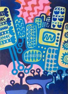 nachts, Acryl auf Leinwand, 70 x 50 cm, Frieda Funke 2015