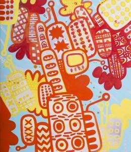 tags, Acryl auf Leinwand, 70 x 60 cm, Frieda Funke 2015