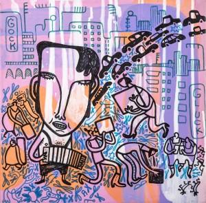 auf gehts, Acryl auf Leinwand, 30 x 30 cm, Frieda Funke 2010