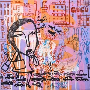 yum, Acryl auf Leinwand, 30 x 30 cm, Frieda Funke 2010