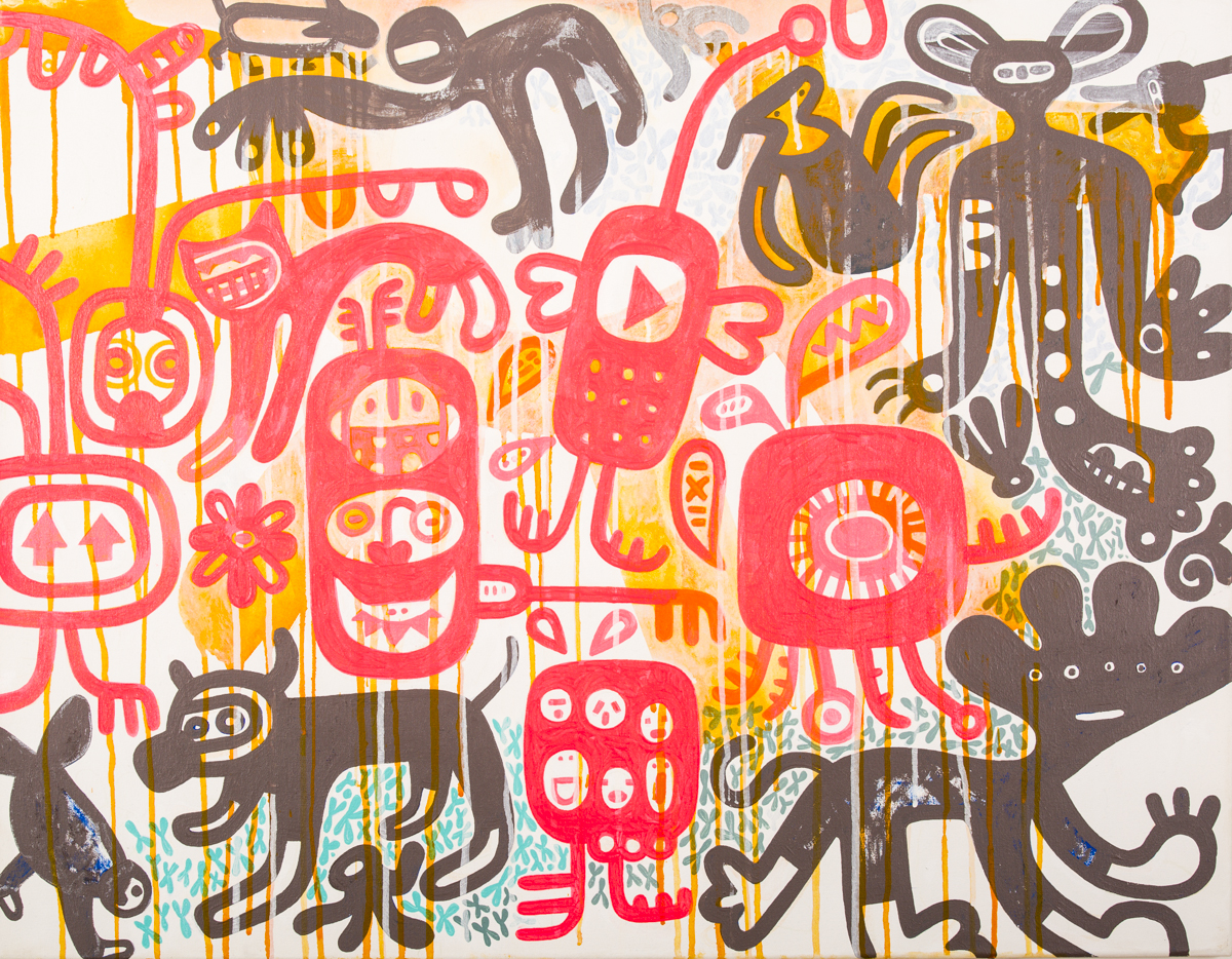 attacke, Acryl auf Leinwand, 70 x 90 cm, Frieda Funke 2013